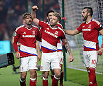 Gaston Ramirez of Middlesbrough celebrating with team mates after scoring his teams first goal of the game during the English Premier League match at Riverside Stadium, Middlesbrough. Picture date: December 5th, 2016. Pic Jamie Tyerman/Sportimage