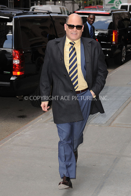 WWW.ACEPIXS.COM . . . . . .April 22, 2013...New York City....Matthew Weiner leaving a taping of the Katie Couric Show on April 22, 2013 in New York City. ....Please byline: KRISTIN CALLAHAN - WWW.ACEPIXS.COM.. . . . . . ..Ace Pictures, Inc: ..tel: (212) 243 8787 or (646) 769 0430..e-mail: info@acepixs.com..web: http://www.acepixs.com .