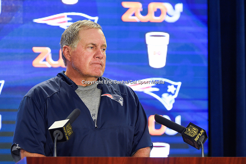 August 4, 2015: New England Patriots head coach Bill Belichick takes questions from the media at a press conference during the New England Patriots training camp held on the practice field at Gillette Stadium, in Foxborough, Massachusetts. Eric Canha/CSM