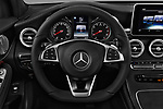 Car pictures of steering wheel view of a 2018 Mercedes Benz GLC Coupe GLC300 4WD 5 Door SUV