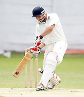 Alex Hill bats for North Middlesex during the Middlesex County League Division two game between North Middlesex and Hornsey at Park Road, Crouch End on Sat July 9, 2011