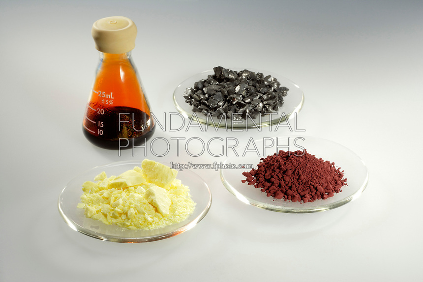 METALS AND NONMETALS<br /> (Variations Available)<br /> Group of Non-Metals<br /> Clockwise from Left, Bromine, Carbon, Red Phosphorus, and Sulfur