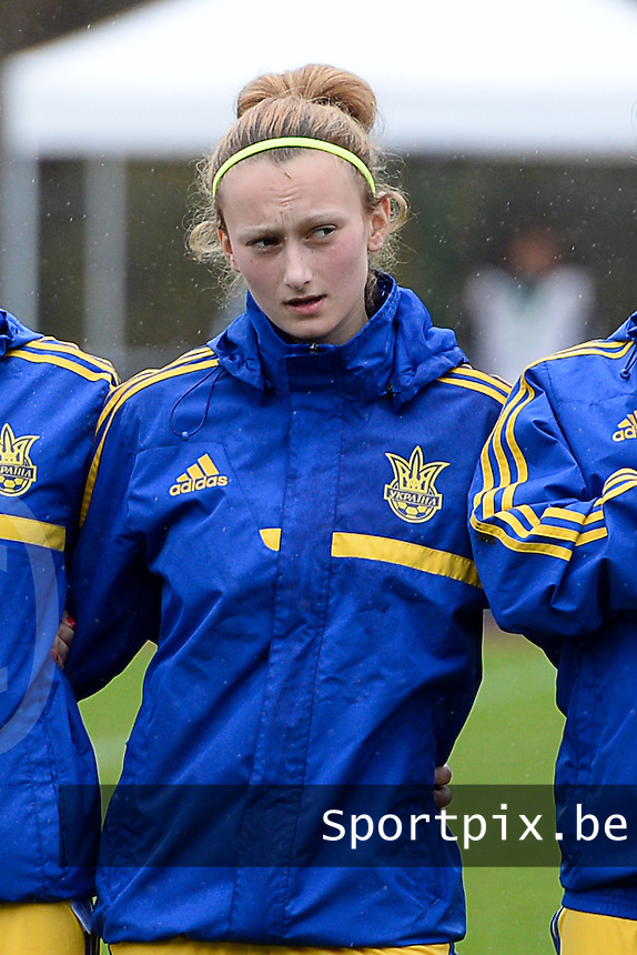 20150404 - FORST , GERMANY  : Ukrainian Alona Komanda pictured during the soccer match between Women Under 19 teams of Belgium and Ukraine , on the first matchday in group 5 of the UEFA Elite Round Women Under 19 at WaldseeStadion , Forst , Germany . Saturday 4th April 2015 . PHOTO DAVID CATRY