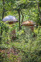 Giant mushrooms on the property of the Ark and The Blue Whale in Catoosa Oklahoma on Route 66.