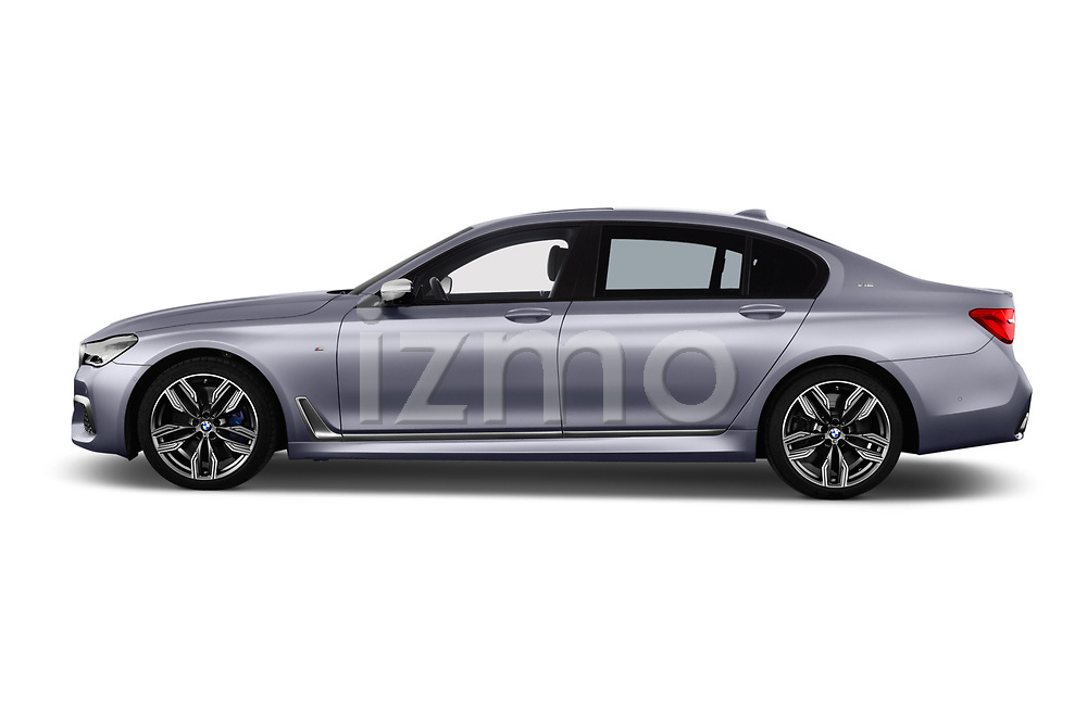 Car driver side profile view of a 2018 BMW 7 Series M760 Li 4 Door Sedan