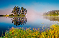 Morning fog on Minnowan Lake<br /> near English River<br /> Ontario<br /> Canada