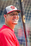 6 September 2014: Washington Nationals catcher Wilson Ramos awaits his turn in the batting cage prior to a game against the Philadelphia Phillies at Nationals Park in Washington, DC. The Nationals fell to the Phillies 3-1 in the second game of their 3-game series. Mandatory Credit: Ed Wolfstein Photo *** RAW (NEF) Image File Available ***