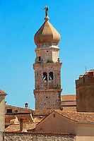 16th century Gothic styled bell tower topped with a 1767 Baroque dome of the Cathedral of Krk, Krk Island, Croatia
