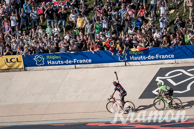 Victory lap for Greg Van Avermaet (BEL/BMC) after finally winning a Monument Classic<br /> <br /> 115th Paris-Roubaix 2017 (1.UWT)<br /> One Day Race: Compi&egrave;gne &rsaquo; Roubaix (257km)