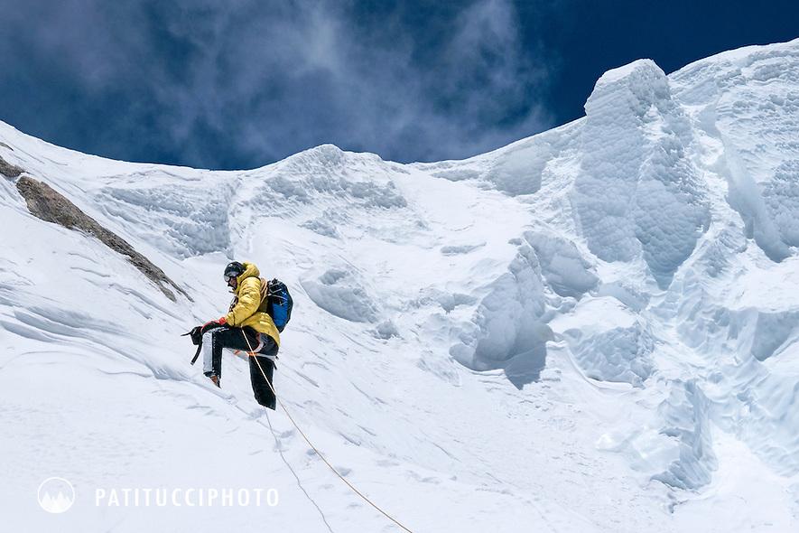 Ueli Steck on the south face of the 8000 meter peak Shishapangma, Tibet