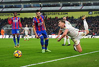 Burnley's Charlie Taylor is fouled by Crystal Palace's Luka Milivojevic<br /> <br /> Photographer Ashley Crowden/CameraSport<br /> <br /> The Premier League - Crystal Palace v Burnley - Saturday 13th January 2018 - Selhurst Park - London<br /> <br /> World Copyright &copy; 2018 CameraSport. All rights reserved. 43 Linden Ave. Countesthorpe. Leicester. England. LE8 5PG - Tel: +44 (0) 116 277 4147 - admin@camerasport.com - www.camerasport.com