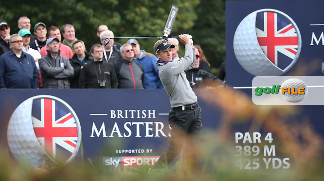 Luke Donald (ENG) in action during the Final Round of the British Masters 2015 supported by SkySports played on the Marquess Course at Woburn Golf Club, Little Brickhill, Milton Keynes, England.  11/10/2015. Picture: Golffile | David Lloyd<br /> <br /> All photos usage must carry mandatory copyright credit (&copy; Golffile | David Lloyd)