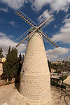 Israel, Jerusalem. The windmill at Yemin Moshe, the first Jewish neighborhood built outside the Old City walls is named after Sir Moses Montefiore who established it , Mount Zion is in the background..