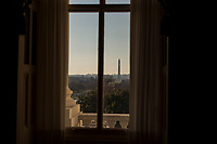 The Washington Monument is seen from a window near the Senate Chamber at sundown from the US Capitol in Washington, D.C. on Friday, December 1, 2017.<br /> Credit: Alex Edelman / CNP /MediaPunch
