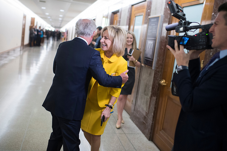 UNITED STATES - APRIL 12: Andrea Mitchell of NBC News, shares a laugh with Chairman Bob Corker, R-Tenn., before the  Senate Foreign Relations Committee confirmation hearing for CIA Director Mike Pompeo, nominee for secretary of state, in Dirksen Building on April 12, 2018. (Photo By Tom Williams/CQ Roll Call)