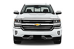 Car photography straight front view of a 2018 Chevrolet Silverado-1500 High-Country-Crew 4 Door Pickup Front View