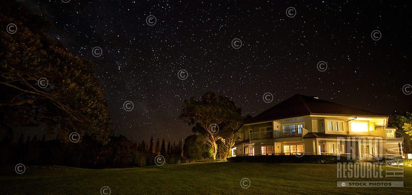 The Four Seasons Resort Lana'i at Manele Bay at night, Lana'i. Editorial use only, no property release available.