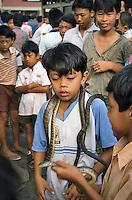 Indonesia, Java island: kids playing with the snakes of the healer Pak Iwo.<br /> Indonesia, Giava: i bambini giocano con i serpenti del guaritore Pak Iwo
