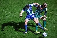 Luke O'Nien of Wycombe Wanderers battles Oscar Threlkeld of Plymouth Argyle during the Sky Bet League 2 match between Wycombe Wanderers and Plymouth Argyle at Adams Park, High Wycombe, England on 14 March 2017. Photo by Andy Rowland / PRiME Media Images.