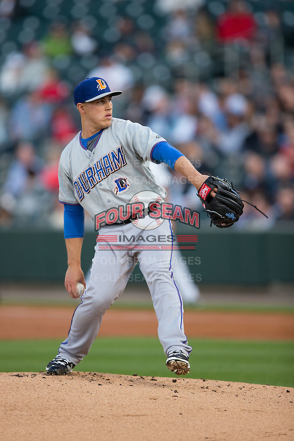 Durham Bulls starting pitcher Jaime Schultz (12) in action against the Charlotte Knights at BB&T BallPark on April 14, 2016 in Charlotte, North Carolina.  The Bulls defeated the Knights 2-0.  (Brian Westerholt/Four Seam Images)