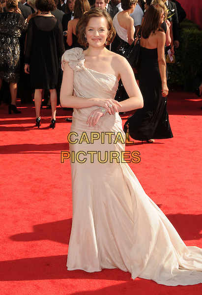 ELISABETH MOSS.62nd Annual Primetime Emmy Awards held at NOKIA Theatre L.A. LIVE, Los Angeles, California, USA..August 29th, 2010.full length dress beige one shoulder .CAP/ADM/BP.©Byron Purvis/AdMedia/Capital Pictures.