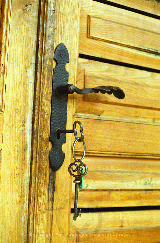 "The Kiralyudvar winery in Tarcal: the very elegant, monastic looking winery. A detail from a door with keys leading to the underground wine cellar. Kiralyudvar (meaning ""King's Court"")is run by Istvan Szepsy, considered maybe the best winemaker in Tokaj. he also makes Tokaj under his own name.  Credit Per Karlsson BKWine.com"