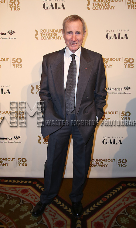 Jim Dale attends the Roundabout Theatre Company's  50th Anniversary Gala at The Waldorf-Astoria on February 29, 2016 in New York City.