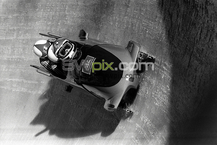 Pix:Michael Steele/SWpix...Bobsleigh, Cortina, Italy. 1988...COPYRIGHT PICTURE>>SIMON WILKINSON..Bobsleigh, Cortina, Italy.