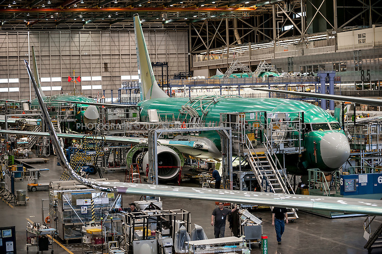 3/6/2012--Renton, WA, USA..Boeing 737s lined up for the final assembly run at the Boeing plant in Renton, WASH., south of Seattle. The 737 series is the best-selling jet airliner in the history of aviation with plans for a new versions, the 737-Max starting production in 2017...©2012 Stuart Isett. All rights reserved