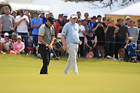 Rory McIlroy (NIR) and Robert MacIntyre (SCO) on the 5th during Round 1 of the Aberdeen Standard Investments Scottish Open 2019 at The Renaissance Club, North Berwick, Scotland on Thursday 11th July 2019.<br /> Picture:  Thos Caffrey / Golffile<br /> <br /> All photos usage must carry mandatory copyright credit (© Golffile | Thos Caffrey)