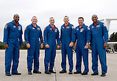 Cape Canaveral, FL - November 12, 2009 -- The STS-129 crew pauses for a group portrait at the Shuttle Landing Facility at NASA's Kennedy Space Center in Florida. From left are Mission Specialist Leland Melvin; Pilot Barry E. Wilmore; Commander Charles O. Hobaugh; and Mission Specialists Randy Bresnik, Mike Foreman and Robert L. Satcher Jr. .Mandatory Credit: Kim Shiflett - NASA via CNP