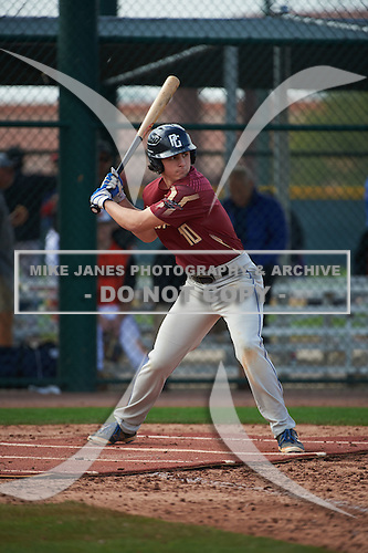 Liam Cogswell (10) of Saint John Paul Ii Academy High School in Boca Raton, Florida during the Under Armour All-American Pre-Season Tournament presented by Baseball Factory on January 14, 2017 at Sloan Park in Mesa, Arizona.  (Art Foxall/Mike Janes Photography)