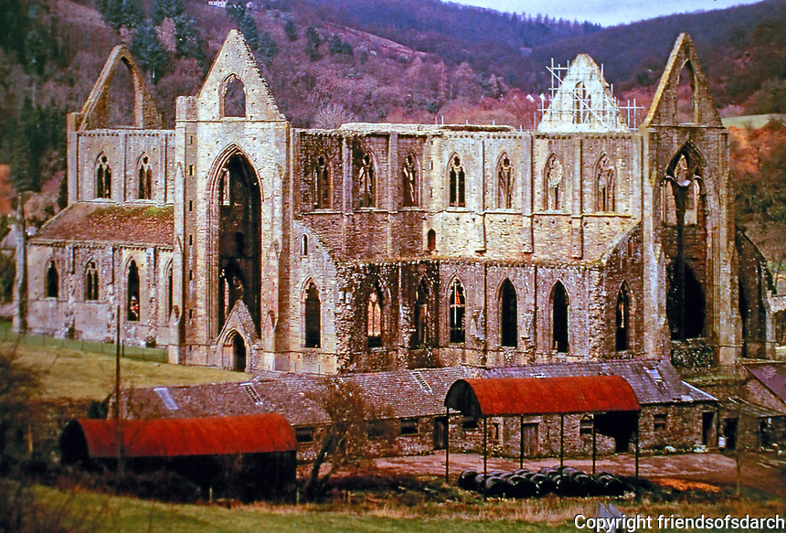 Tintern Abbey, founded by Walter de Clare, Lord of Chepstow, on May 9, 1131. On the Welsh bank of the River Wye. Remains are celebrated in poetry.