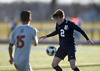 NWA Democrat-Gazette/CHARLIE KAIJO Bentonville West High School Tom Shultz (2) dribbles during a soccer game, Friday, March 15, 2019 at Bentonville West in Centerton.