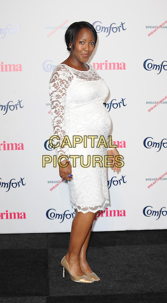 Angellica Bell.Prima High Street Fashion Awards, Battersea Evolutions, Battersea Park, London, England..September 8th, 2011.full length white dress lace pregnant  side .CAP/WIZ.© Wizard/Capital Pictures.