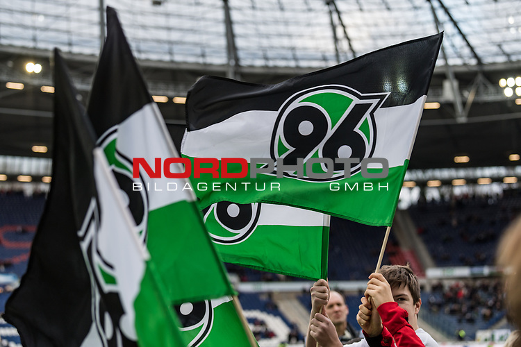 09.02.2019, HDI Arena, Hannover, GER, 1.FBL, Hannover 96 vs 1. FC Nuernberg<br /> <br /> DFL REGULATIONS PROHIBIT ANY USE OF PHOTOGRAPHS AS IMAGE SEQUENCES AND/OR QUASI-VIDEO.<br /> <br /> im Bild / picture shows<br /> Hannover 96 Fahnen wehen im Wind, <br /> <br /> Foto &copy; nordphoto / Ewert