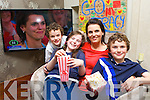Tracy Coyne the winner of the Great Irish Bake Off tv programme sit down to watch the final with her children Max, Lucy and Rory after they returned from holiday on Monday