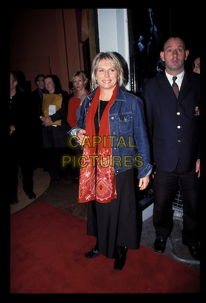 JENNIFER SAUNDERS.Ref:10049.long black skirt, denim jacket, jean jacket, red scarf, full length, full-length.RAW SCAN - PHOTO WILL BE ADJUSTED FOR PUBLICATION.www.capitalpictures.com.sales@capitalpictures.com.©Capital Pictures.