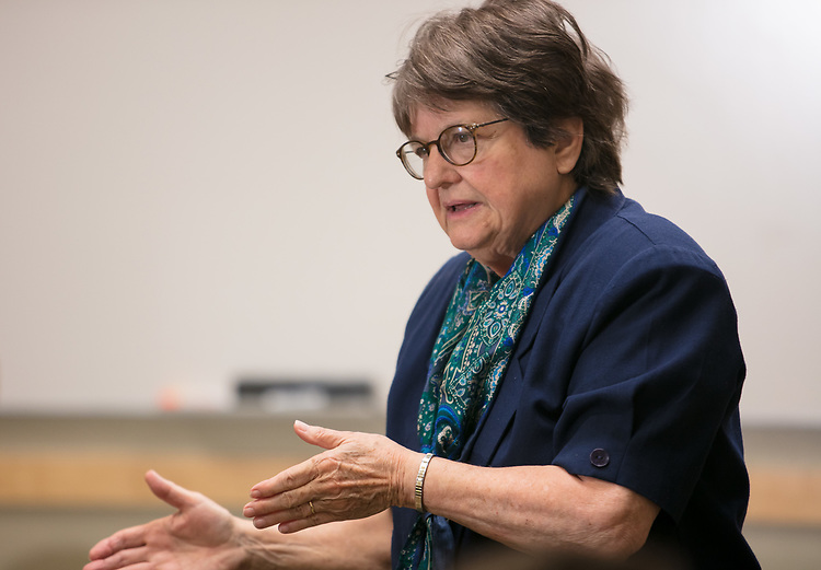 """Activist, author and anti-death penalty crusader Sister Helen Prejean, C.S.J., talks with a small gathering of faculty, staff and students during a breakfast Wednesday, April 19, 2017, at DePaul University's Lincoln Park Campus. Prejean is the author of the widely acclaimed book """"Dead Man Walking"""" and is known for her work as an educator about the death penalty and counselor for death row inmates.The event was hosted by the Department of Catholic Studies. (DePaul University/Jeff Carrion)"""