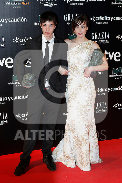 Actor Francesc Colomer and actress Natalia de Molina attends Goya Cinema Awards 2014 red carpet at Centro de Congresos Principe Felipe on February 9, 2014 in Madrid, Spain. (ALTERPHOTOS/Victor Blanco)