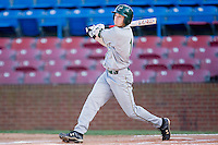 Shane Brown #1 of the Charlotte 49ers follows through on his swing against the Wake Forest Demon Deacons at Wake Forest Baseball Park March 30, 2010, in Winston-Salem, North Carolina.  Photo by Brian Westerholt / Four Seam Images