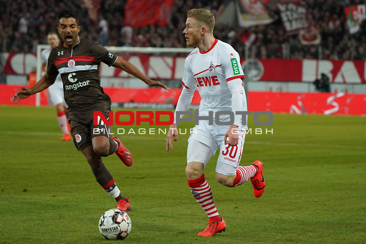 08.02.2019, RheinEnergieStadion, Koeln, GER, 2. FBL, 1.FC Koeln vs. FC St. Pauli,<br />  <br /> DFL regulations prohibit any use of photographs as image sequences and/or quasi-video<br /> <br /> im Bild / picture shows: <br /> Florian Kainz (FC Koeln #30), im Zweikampf gegen  Sami Allagui (St Pauli #11), <br /> <br /> Foto © nordphoto / Meuter