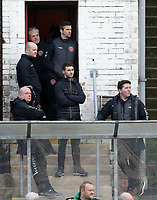 The Fleetwood Town coaching staff look on during the pre-match warm-up <br /> <br /> Photographer David Shipman/CameraSport<br /> <br /> The EFL Sky Bet League One - Bradford City v Fleetwood Town - Saturday 9th February 2019 - Valley Parade - Bradford<br /> <br /> World Copyright &copy; 2019 CameraSport. All rights reserved. 43 Linden Ave. Countesthorpe. Leicester. England. LE8 5PG - Tel: +44 (0) 116 277 4147 - admin@camerasport.com - www.camerasport.com