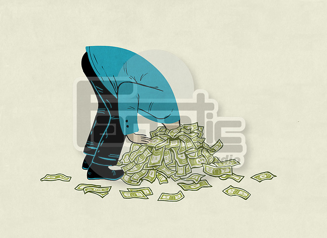 Illustrative image of businessman's head stuck in pile of money representing debt