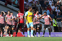 Ollie Watkins (No 11) celebrates scoring Brentford's third goal during Brentford vs Rotherham United, Sky Bet EFL Championship Football at Griffin Park on 4th August 2018