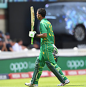 June 18th 2017, The Kia Oval, London, England;  ICC Champions Trophy Cricket Final; India versus Pakistan; Fakhar Zaman of Pakistan takes the crowds applause after being dismissed for 114