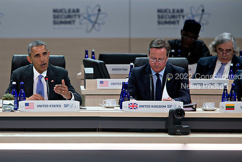 United States President Barack Obama, left, speaks during a closing session with David Cameron, U.K. prime minister, at the Nuclear Security Summit in Washington, D.C., U.S., on Friday, April 1, 2016. After a spate of terrorist attacks from Europe to Africa, Obama is rallying international support during the summit for an effort to keep Islamic State and similar groups from obtaining nuclear material and other weapons of mass destruction. <br /> Credit: Andrew Harrer / Pool via CNP