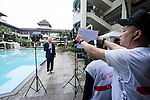 Tennis Legend Boris Becker speaks for TV at Mission Hills Resort on 19 March 2016, in Shenzhen, China. Photo by Lucas Schifres / Power Sport Images