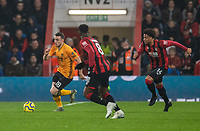 Wolverhampton Wanderers' Diogo Jota (left) under pressure from Bournemouth's Jefferson Lerma (centre) and Arnaut Danjuma (right) <br /> <br /> Photographer David Horton/CameraSport<br /> <br /> The Premier League - Bournemouth v Wolverhampton Wanderers - Saturday 23rd November 2019 - Vitality Stadium - Bournemouth<br /> <br /> World Copyright © 2019 CameraSport. All rights reserved. 43 Linden Ave. Countesthorpe. Leicester. England. LE8 5PG - Tel: +44 (0) 116 277 4147 - admin@camerasport.com - www.camerasport.com