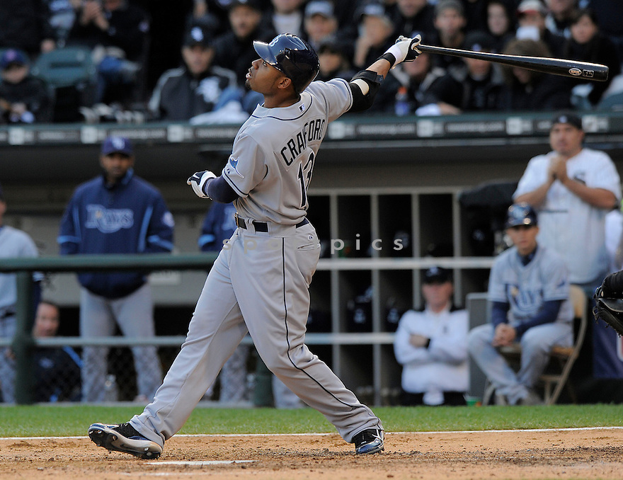 CARL CRAWFORD, of the Tampa Bay Rays, in action during the  Rays  game against the Chicago White Sox, in Chicago, IL  on October 5, 2008..The Chicago White Sox  won 5-3
